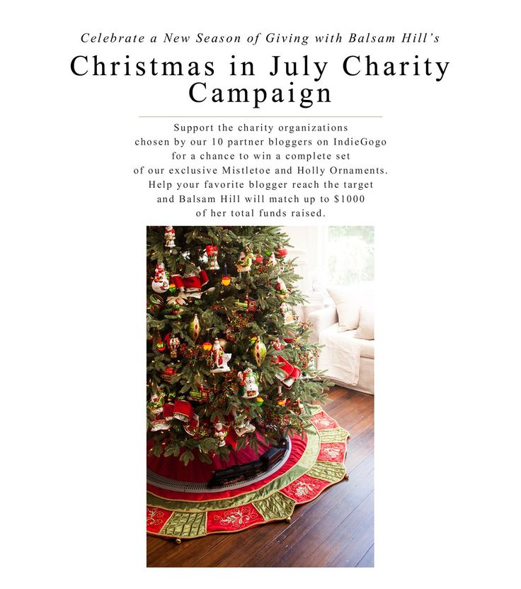 Christmas is the holiday of giving, and July is the perfect reminder that Christmas is only half a year away, and it's time to start giving. For Christmas In July, Balsam Hill is partnering with 10 bloggers to help raise awareness and funds for charities.: Help Raised, Raised Awareness, Christmas In July, 10 Bloggers, Holidays, Christmas Charity, Hill Christmas, Balsamic Hill, Perfect Reminder