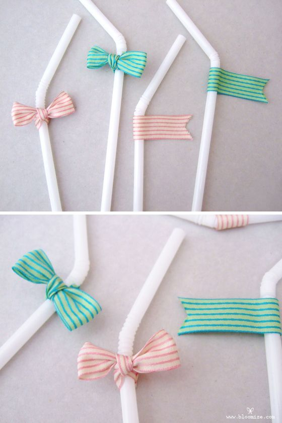ribbon straw toppers...endless possibilities for birthday parties and using washi tape!