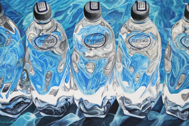 """""""Bottled At The Source"""" watercolor on paper by Carrie Waller www.carriewallerfineart.com"""