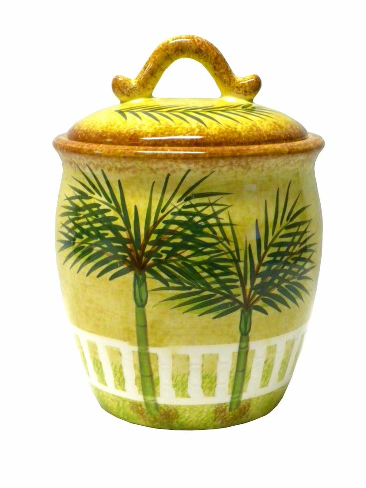 Palm Kitchen Decor | ... About Ceramic PALM Tree TROPICAL Beach THEME Canister  Kitchen