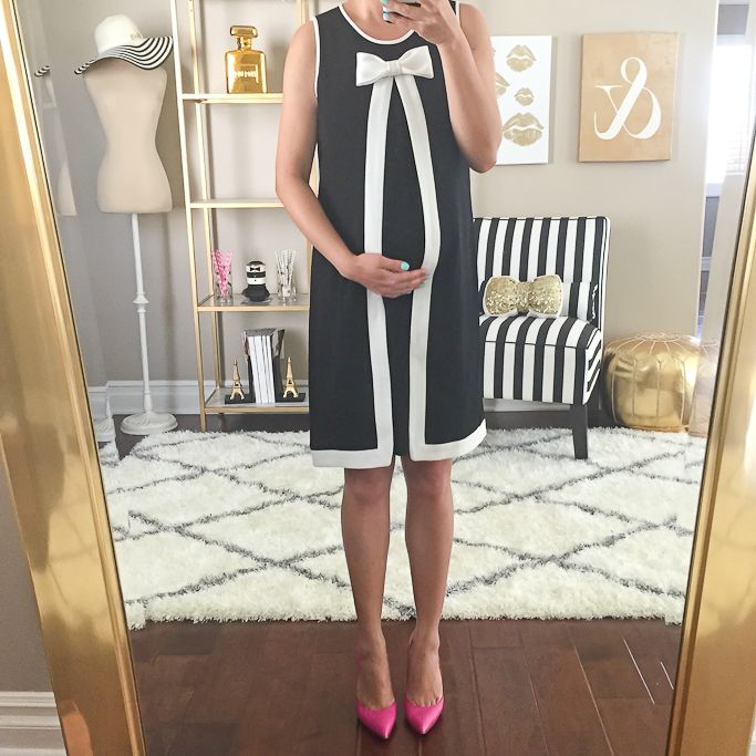 StylishPetite.com | CeCe by Cynthia Steffe 'Molly' Bow Neck Crepe A-Line Dress, Kate Spade lottie pink pumps, gold mirror, home decor, pregnant, maternity, petite baby bump outfits, bump style, dress, bows