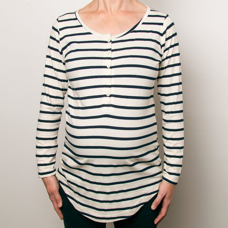 Organic Cotton Henley Relaxed T-Shirt in Midnight Stripe | Nature Baby