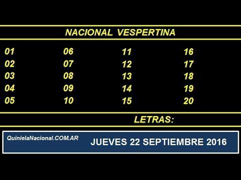 Quiniela Nacional Vespertina Jueves 22 de Septiembre de 2016 www.quinielanacional.com.ar