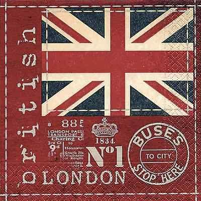 """20 Lunch-Servietten """"British flag"""" Britische Flagge London 33x33cm Paper+Design"""