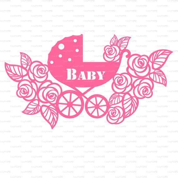 Encaje de flores buggy de carro de bebé de recién nacido tarjeta (svg, dxf, ai, eps, png) Vector recubrimiento vinilo cortado, troquelado Silhouette Cameo EasyCutPrintPD