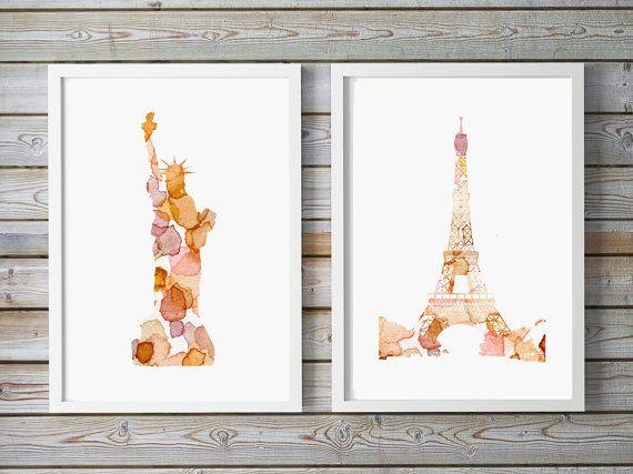 New York en Parijs illustratie  giclee print door Lemonillustrations