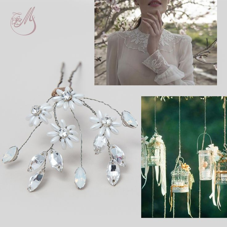 Get inspired by Minicoeur, a #hairpin hand crafted from hand wired white #opal #Swarovski rhinestones and delicate #flowers made from Preciosa glass beads and Swarovski pearls. This simple and elegant item can successfully enhance the classical beauty of a simple chignon. #mbridal #bridal2015 #inspiration #bride #accesoriimirese #lovehimbeforeyousayyes