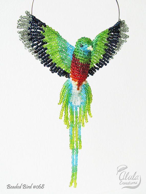Quetzal Beaded Bird Suncatcher, Beaded Bird Window Decor, Bird Ornament, 3D Bird…