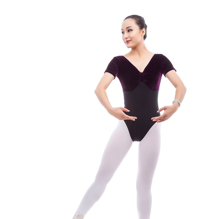 >> Click to Buy << Short Sleeves Front Knot Velvet Splicing Cotton Adult Ballet Dance Leotard Practice Dance Costume Bodysiut ShapeWear #Affiliate
