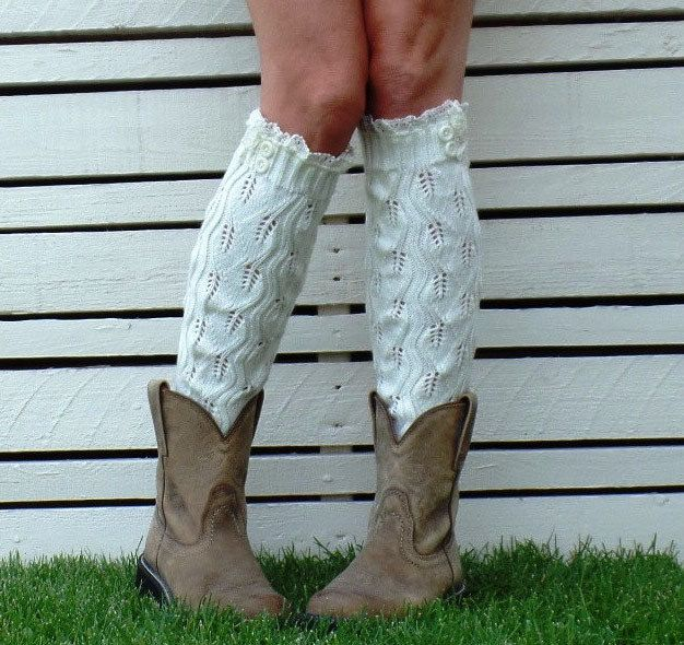 Women Leg warmers in WHITE / Lace and Button / Boot cuff / boot socks / Urban clothing / Knited leg wear / geometric dance leg warmers by URFashionista on Etsy