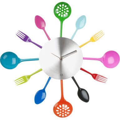 pt Silverware Utinsels Iron Wall Clock, Multi Colour
