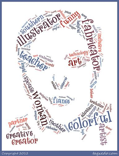 Self Portrait Using Text   (with Tagxedo.com): I had used the fingerprints with pen this year, but this is what I was looking for!