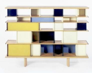 """Jean Prouvé. """"Mexique"""" bookcase. 1953. Lacquered steel and pine. French furniture designer and architect Jean Prouvé (1901-1984), grew up surrounded by the ideals and energy of his father Victor's art collective """"l'Ecole de Nancy""""."""