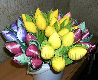 тюльпаны из ткани своими руками с бесплатной выкройкой