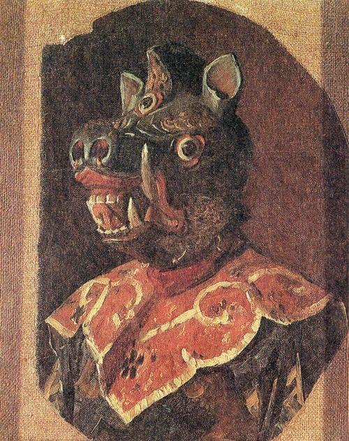 """Василий Верещагин - Лама в костюме для религиозного танца """"цам"""". 1875"""