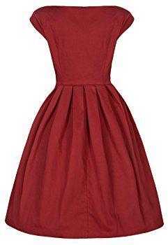 Lindy Bop 'Lucille' Chic 50's Vintage Style Plissé Rock N Roll Partie Robe Dress (36, Rust)