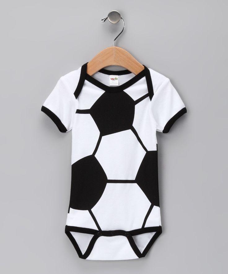 Soccer Ball Bodysuit- love it: Adorable Black, White Soccer, Soccer Ball, Baby Boys, Black White, Babybal Clothing, Soccer Baby, Zulili Today, Ball Bodysuit