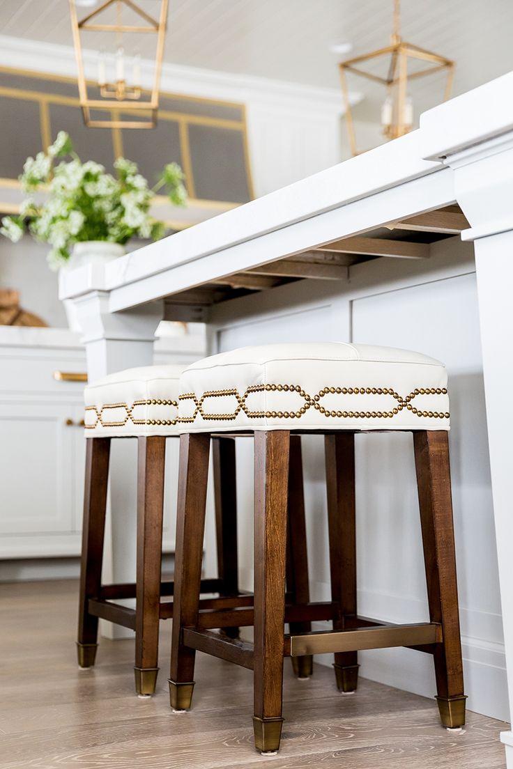 Ivory Lane Kitchen Reveal: White and Gray kitchen, bar stools