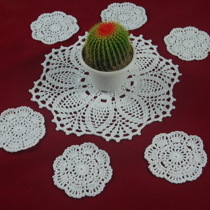 Set OF 7 Piece Handmade Crochet Doilies coasters Mat&Pad Home Wadding decoration #Handmade