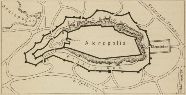 1888, Υποθετική θέση του Πελασγικού τείχους στην Ακρόπολη των Αθηνών. - BOETTICHER, Adolf