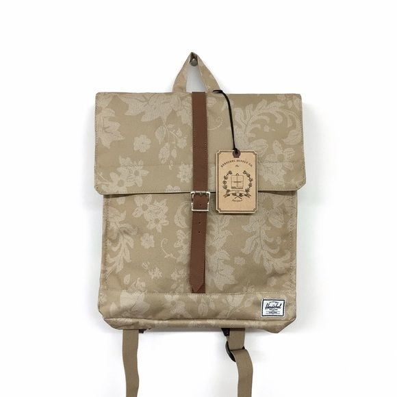 "Herschel City Backpack in Khaki Waldorf -Signature striped fabric liner -Magnetic strap closure with metal pin clip -Hidden external zippered storage sleeve -Classic woven label -Dimensions : 14"" X 12"" X 2.5""  Brand new with tags and original plastic bag.  NO TRADES Herschel Supply Company Bags Backpacks"