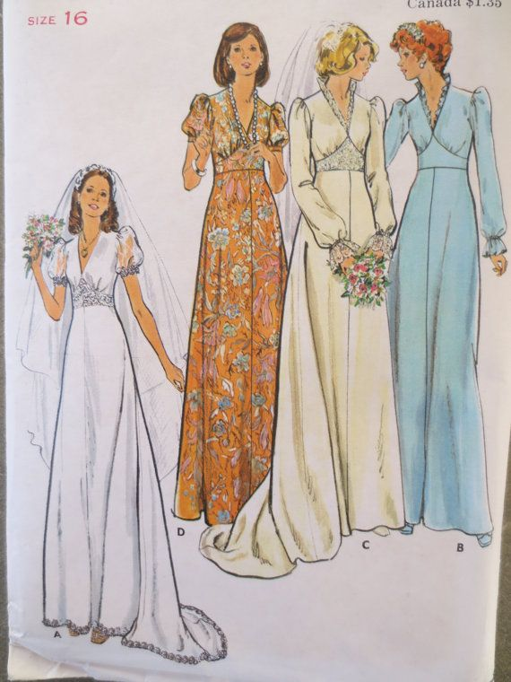 Vintage butterick 3774 sewing pattern 1970s dress pattern Butterick wedding dress patterns