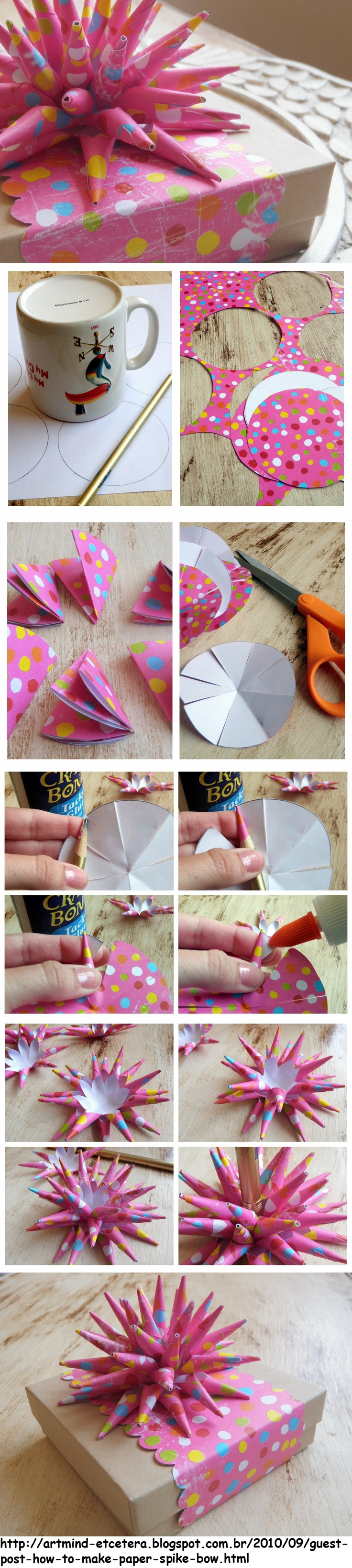 How to make a paper spike bow...cool!