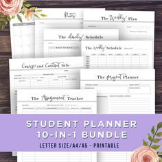 STUDENT PLANNER - 10 IN 1 BUNDLE Get ahead of your classes, projects and assignments with this versatile student planner. This set is perfect