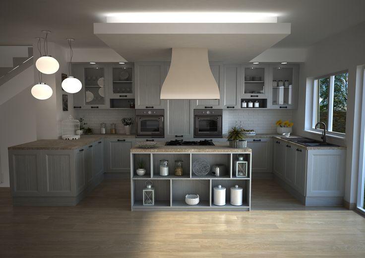 Render cucina glamour finitura yellow pine bianca.