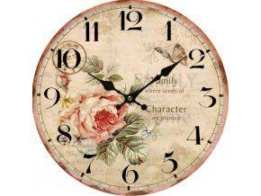 Nástěnné hodiny retro - růže, 34 cm
