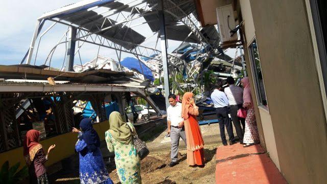 (Gambar) Helikopter Terhempas Dalam Kawasan Sekolah Di Tawau