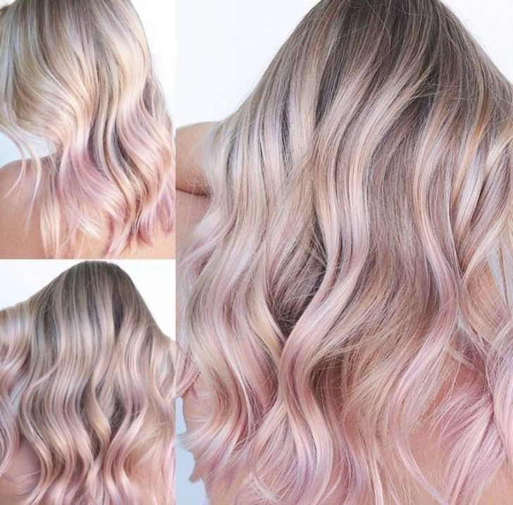 Cool Blonde Hair With Pastel Pink Rose Gold Hair Tips In 2020 Pink Blonde Hair Rose Blonde Blonde Hair With Pink Tips