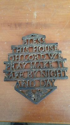 Vintage Cast Iron Kitchen Trivet Bless This House Oh Lord We Pray Make It  Safe