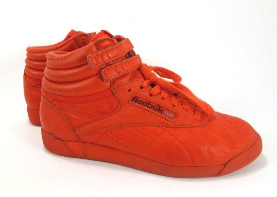 Vintage Red Reebok Freestyles Ladies 8 Hip Hop Sneakers Leather High Tops