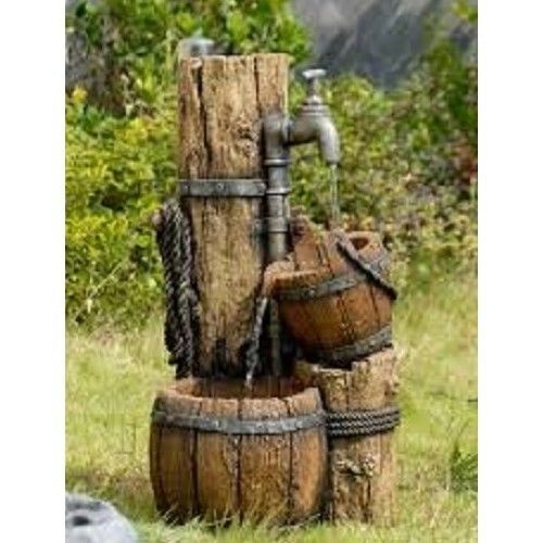 rustic water fountain outdoor electric pump pouring barrel garden wood patio