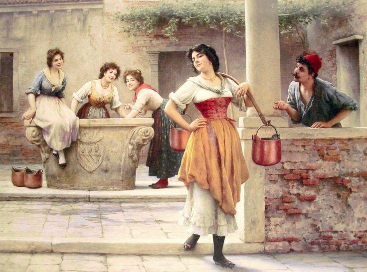 Eugene de Blaas (1843-1932) - Flirtation at the Well