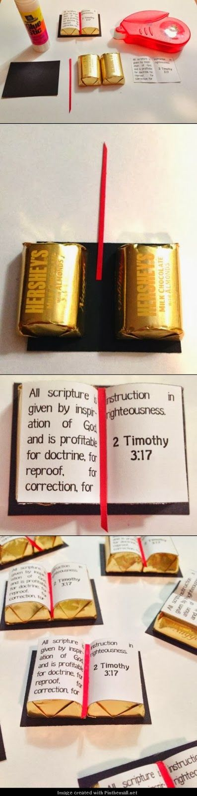 Scripture treat handout: Great instructions and printable to make these using Hershey's Chocolate Almond Nuggets.