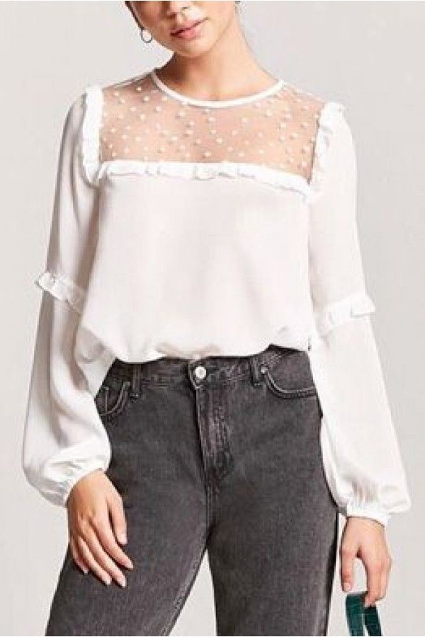 73fe769587a White Mesh Ruffles Trim Puff Sleeve Star Casual Blouse #042682 @ Womens  Shirts & Blouses,Women Shirts,Cheap Button Down Shirts,Long Sleeve Shirts, Blouses ...