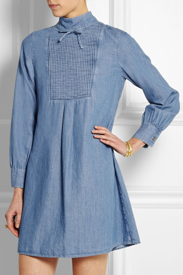 Alexa Chung For AG Jeans The Julie pintucked denim mini dress