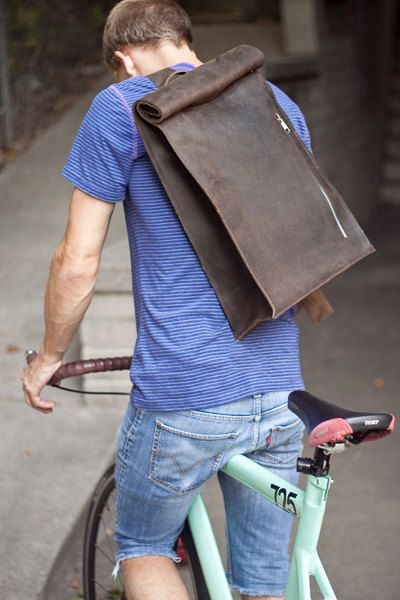 Brown Leather Bike Messenger Bag by jrawldesign on Etsy
