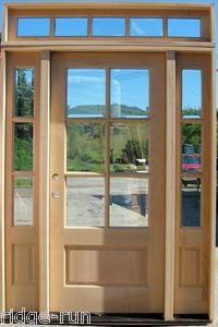 Painted Black Craftsman Prairie Style 9 Lite Wood Entry Door Sidelights Transom Free S