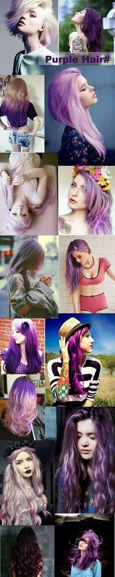 Purple hair, Black Purple Hair, Blonde Purple Hair, Gray purple Hair,Lavender purple Hair style, purple hair dye, pastel hair, hair color, dark purple, red purple. Purple ombre hair with color pink and blue. More inspirations on purple hair dye~