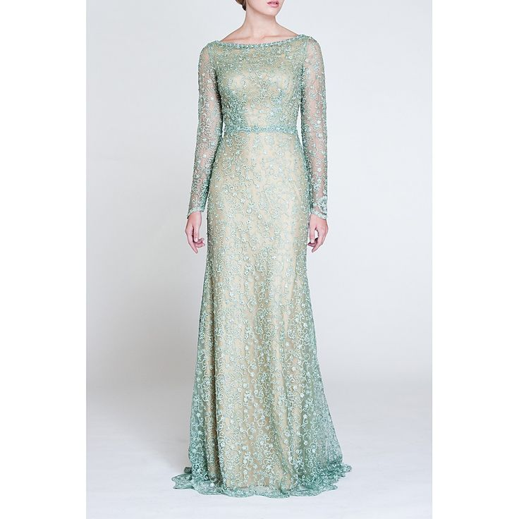 Arrive stunningly gorgeous at your special occasion in this gown of beaded tulle and lace. Ageless flattering neckline. Elegant long sheer sleeves with lace embellishment. Color: Aqua Material: 100% C