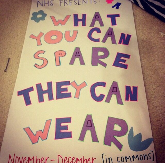 """What you can spare, they can wear"" clothing drive is going on at archer right now(in the commons area) and donations are much appreciated! (: -national honor society"