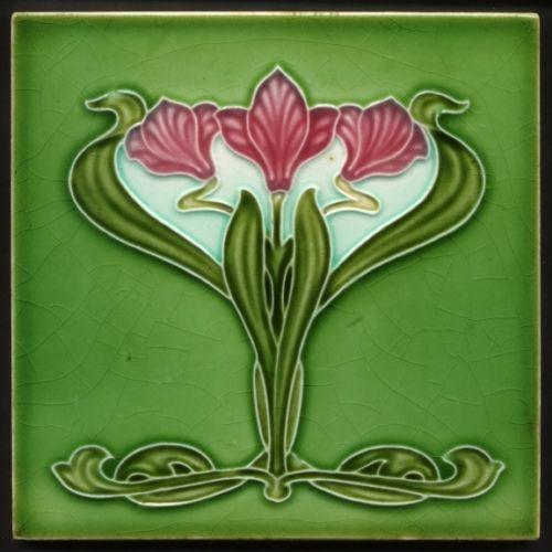 TH2965-Excellent-amp-Rare-Art-Nouveau-Majolica-Tile-Henry-Richards-c-1905
