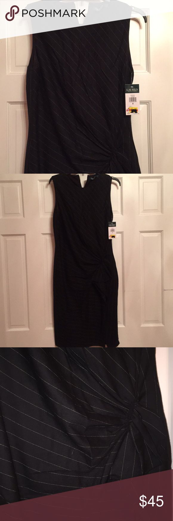 Ralph Lauren dress NWT Up for consideration is a Ralph Lauren dress. If you could define business elegance this dress would be it. It is new with tags.  It is black and white color.  It is sleeveless. The fabric is lightweight and is fully lined. The dress is fitted top with a round neck and gather just below the waist (conceals flaws) and a slit from the gather down. It is very flattering.  The 8 was too tight for me so I sized up. Always get compliments when I wear! Lauren Ralph Lauren…