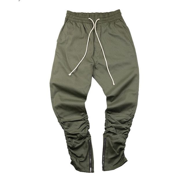 Army Pants Casual Skinny Zipper botton Sweatpants Solid Hip Hop high street Trousers Pants Men Joggers Slimming pants