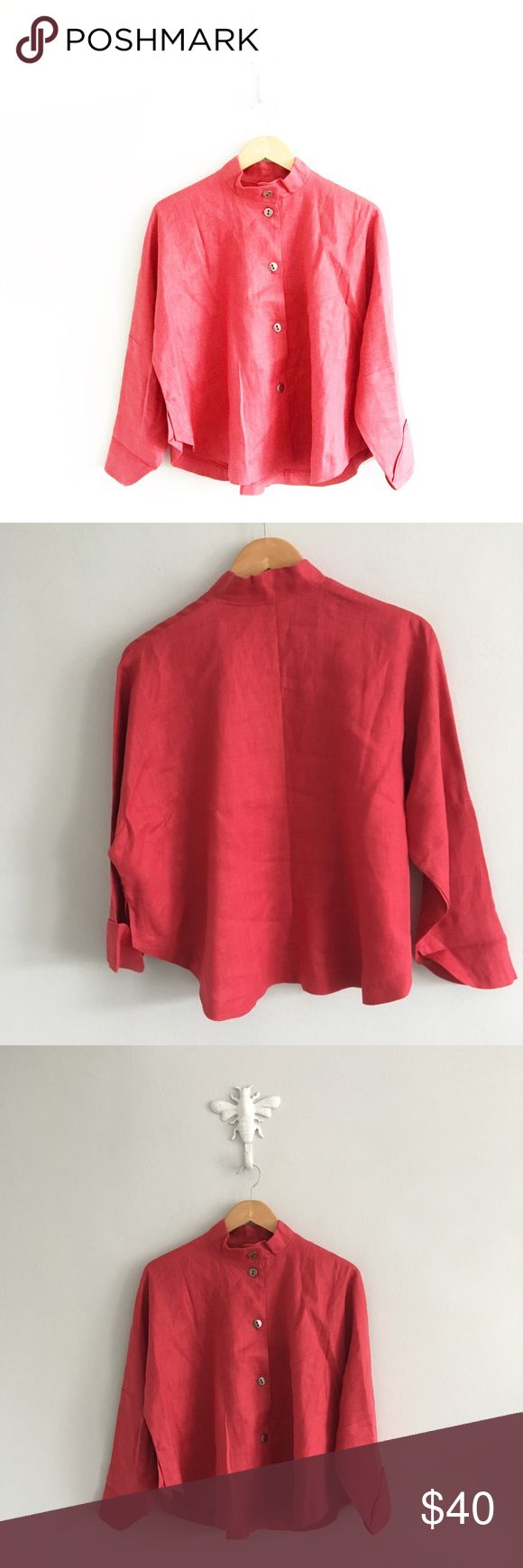 """ITEMZ by CHRIS BAUMGARTNER Red Linen Blouse Gently pre-loved with no rips or stains. Please see all pictures for an accurate description of condition. 100% linen. Chest: 54"""". Length: 23.5"""". One size fits most. F19. ITEMZ Tops Button Down Shirts"""