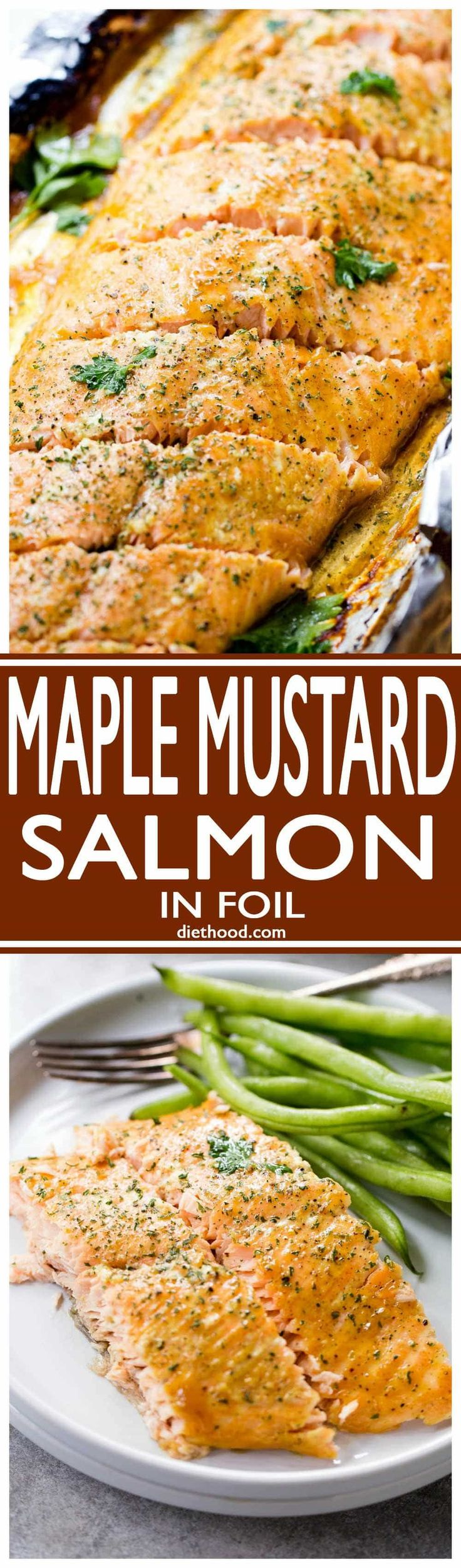 Maple Mustard Salmon in Foil - Delicious, sweet and tangy salmon coated with an amazing maple syrup and mustard sauce, and baked in tin foil to a flaky perfection! http://grillidea.com/best-smoker-grills/