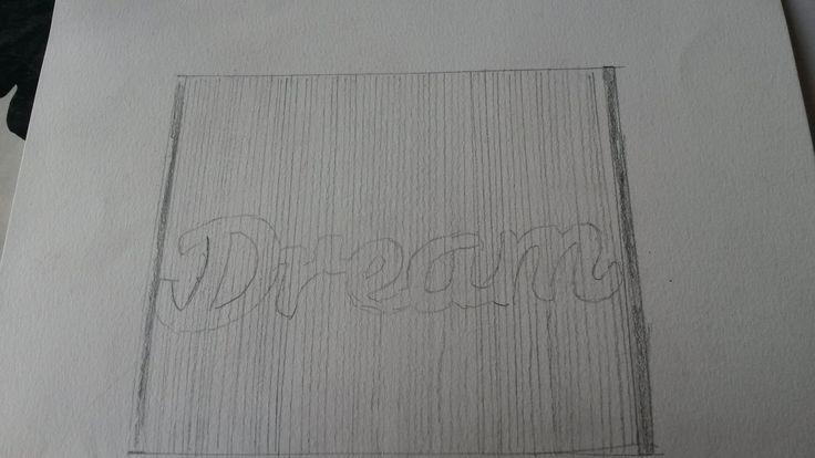 Dit was een ander ontwerp. De letters van het woord Dream vouwen in het boek. Maar ook van dit dacht ik dat het te simpel zou zijn en ook best moeilijk. Met dream bedoelde ik dat de kinderen moeten blijven geloven dat het ooit goed gaat komen met Syrië en dat de oorlog gaat stoppen.